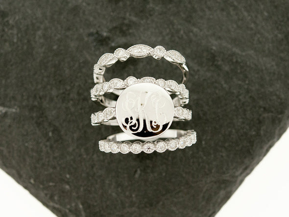 Sterling Knot Art Deco Stacking Monogram Ring