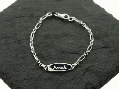 Sterling Knot Baby Satellite ID Name Monogram Bracelet