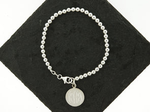 Sterling Knot Ball Bead Monogram Bracelet