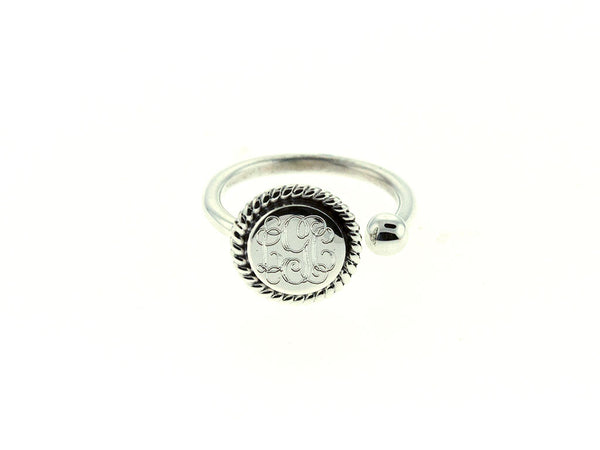 Silver Round Rope and Bead Cuff Ring