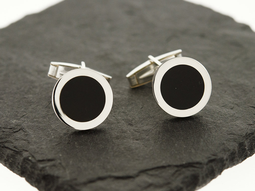 Round Black Onyx Cuff Links