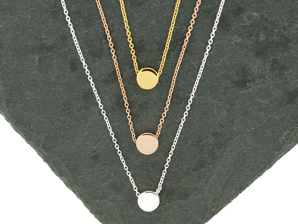 Mini Round Circle Disc Choker Necklace