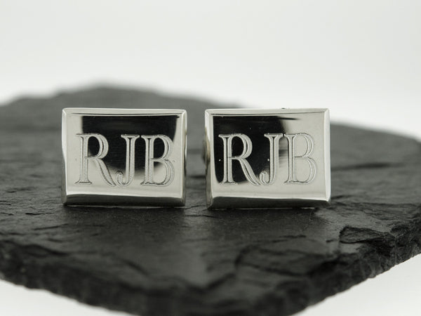Rectangle Monogram Cuff Links