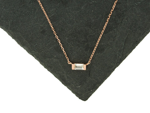 Sterling Knot Rose Gold Baguette Necklace