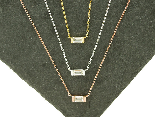 Sterling Knot CZ Baguette Necklace