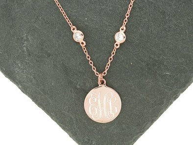 Rose Gold CZ Diamonds by the Yard Monogram Necklace