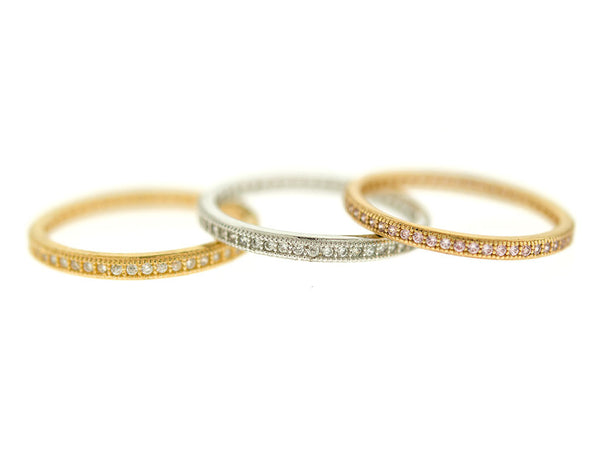 Tri Color Micro Pave CZ Stacking Band Set