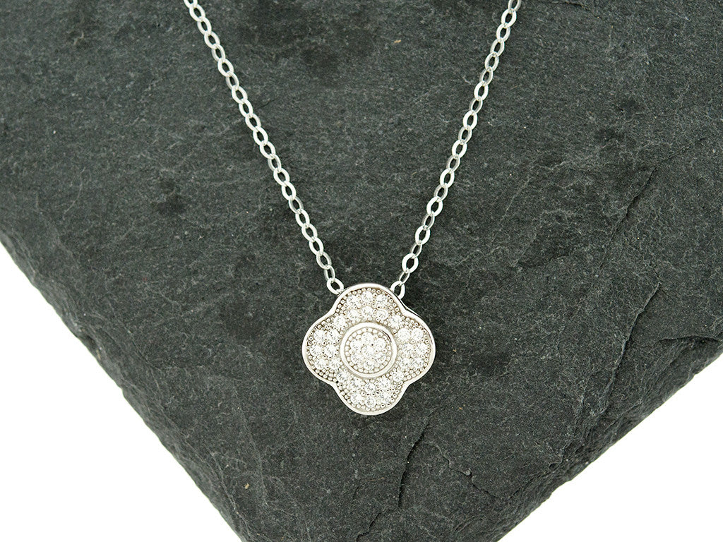 Sterling Knot CZ Halo Clover Necklace