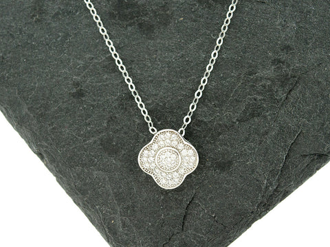 CZ Halo Clover Necklace