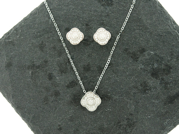 Sterling Knot CZ Halo Clover Necklace and Earrings