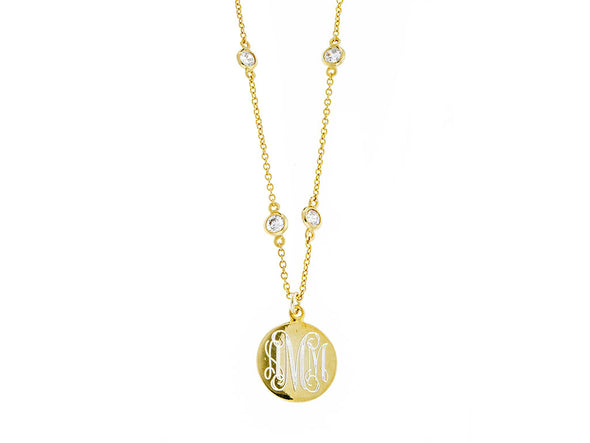 Gold CZ Diamonds by the Yard Monogram Necklace