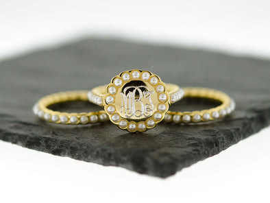 Gold Pearl Stacking Monogram Ring