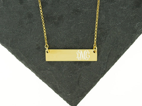 Sterling Knot Gold Bar Necklace