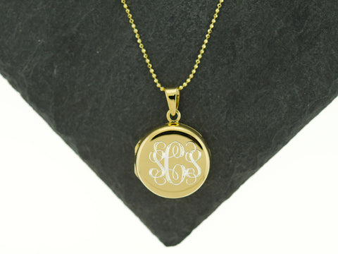 Gold Round Monogram Locket Necklace