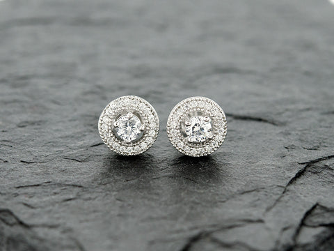 Round CZ Halo Stud Earrings