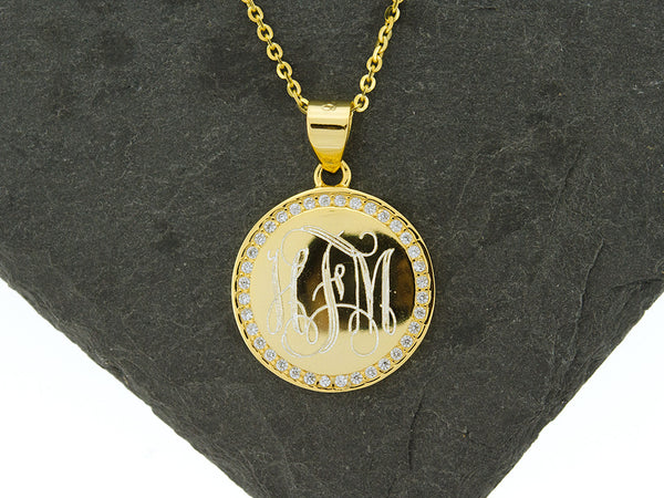 Gold Vermeil Round CZ Monogram Necklace