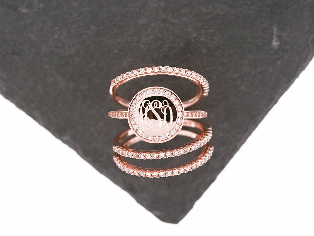 Rose Gold CZ Stacking Monogram Ring