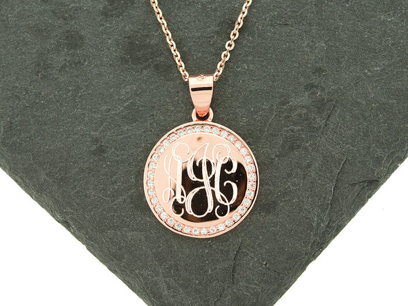 Rose Gold Round CZ Monogram Necklace