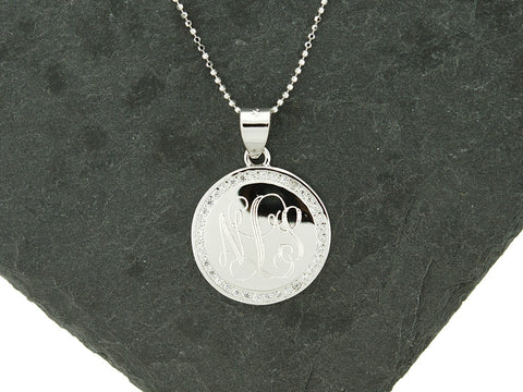 Silver Round CZ Monogram Necklace