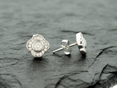 Sterling Knot CZ Halo Clover Earrings