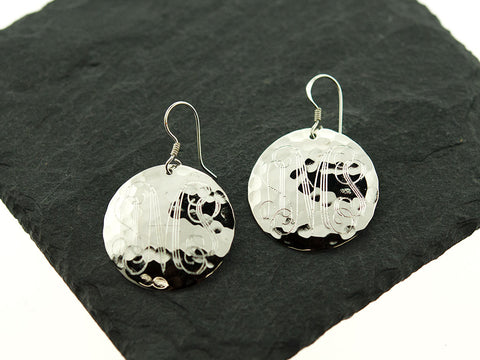 Round Hammered Monogram Earrings