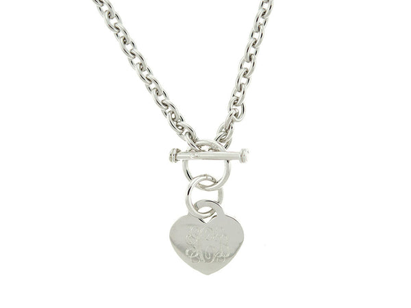 Heart Tag Toggle Monogram Necklace