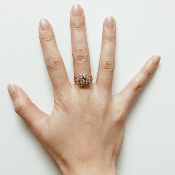Silver Nautical Rope Stacking Monogram Ring