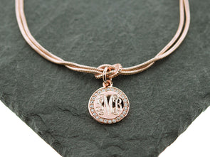 Rose Gold CZ Monogram Knot Bracelet