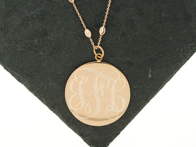 Rose Gold Large Disc Bead Monogram Necklace