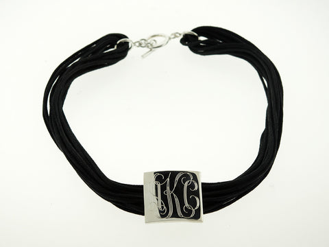 Square Monogram Leather Choker Necklace