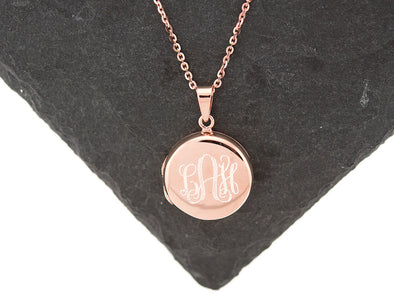 Rose Gold Round Monogram Locket