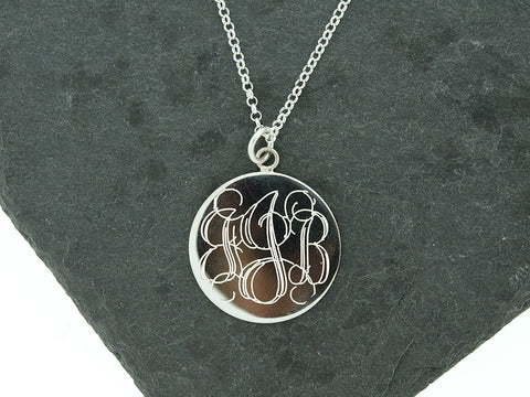 Large Round Disc Monogram Necklace