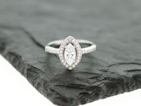 CZ Marquise Halo Ring