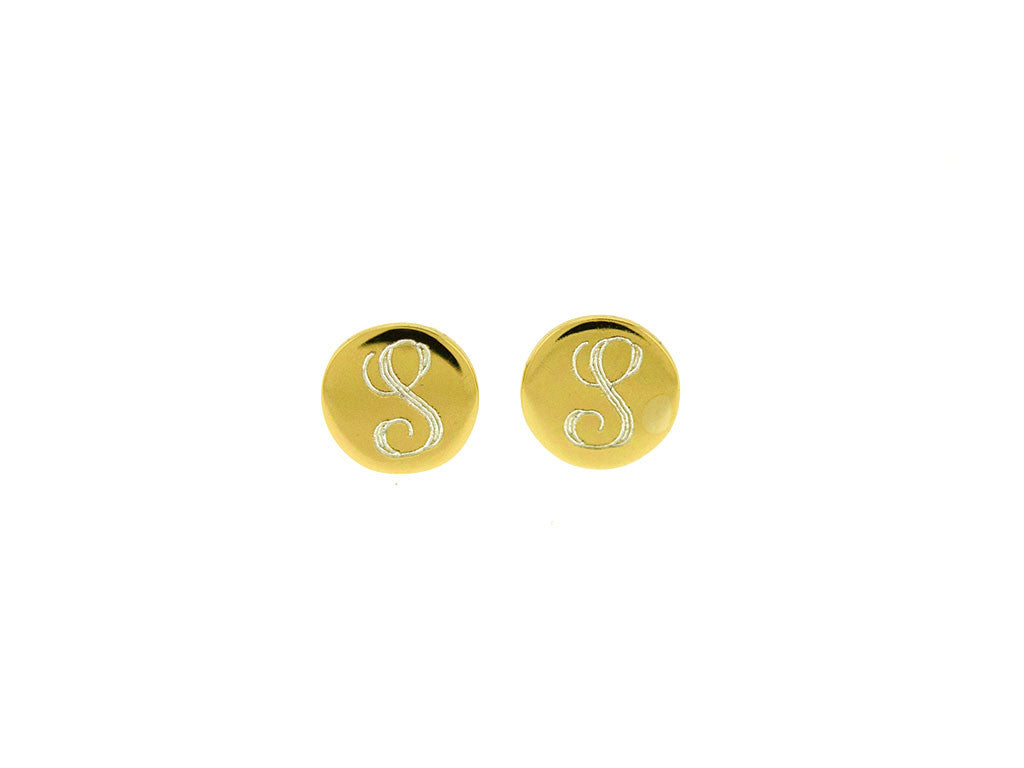 Gold Vermeil Baby Mini Monogram Stud Earrings