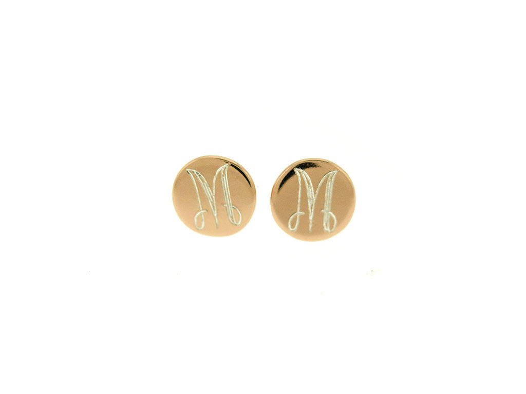 Rose Gold Baby Mini Monogram Stud Earrings