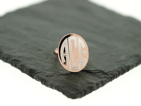 Rose Gold Oval Monogram Ring