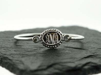 Sterling Knot Baby Oval Bead ID Bangle Monogram Bracelet