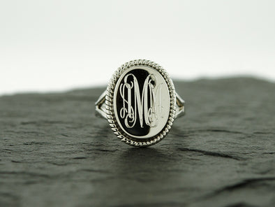 Oval Rope Nautical Monogram Ring