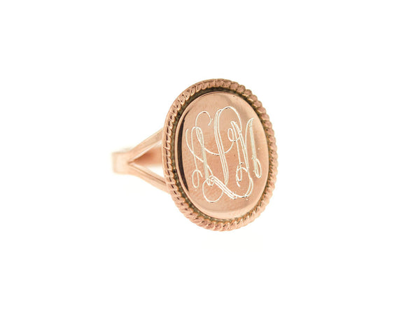 Rose Gold Oval Nautical Rope Monogram Ring