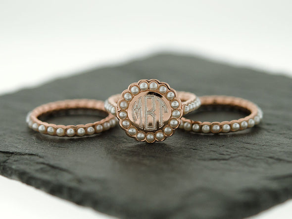Rose Gold Pearl Stacking Monogram Ring