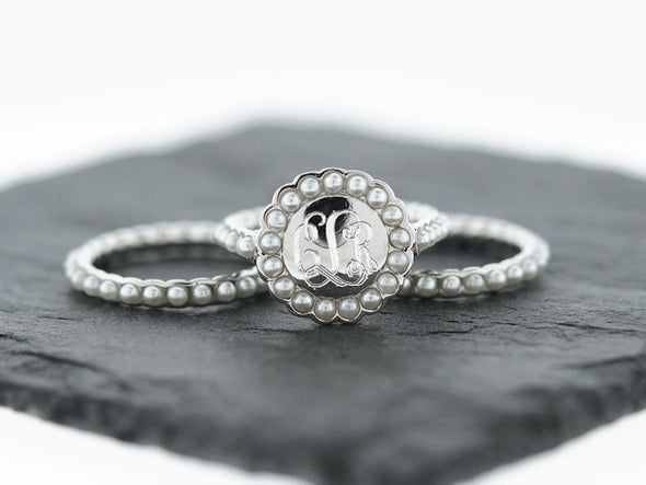 Silver Pearl Stacking Monogram Ring