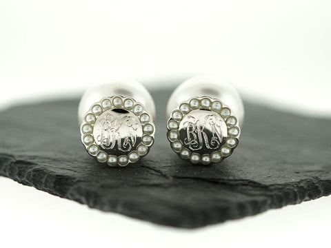 Silver Pearl Halo Peekaboo Earrings