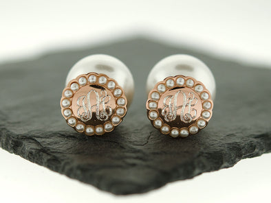 Rose Gold Pearl Halo Peekaboo Earrings
