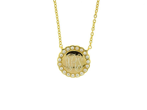 Gold Pearl Halo Monogram Necklace