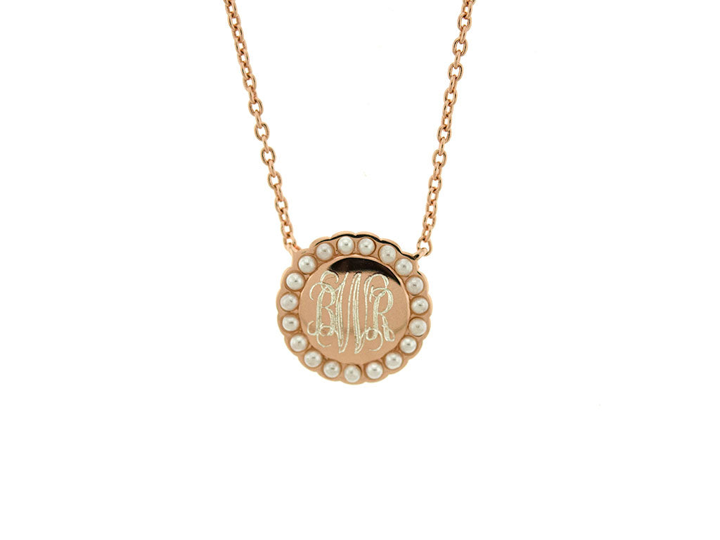 Rose Gold Pearl Halo Monogram Necklace