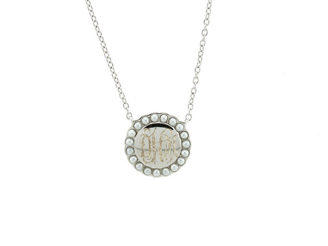 Silver Pearl Halo Monogram Necklace