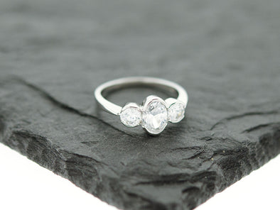 Past Present Future CZ Promise Ring