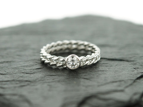 CZ Rope Stacking Ring