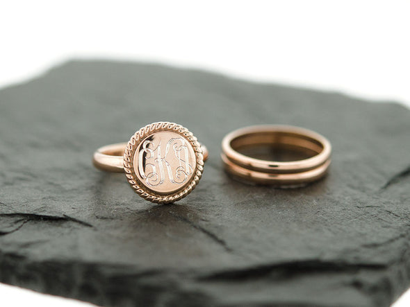 Rose Gold Nautical Rope Stacking Monogram Ring