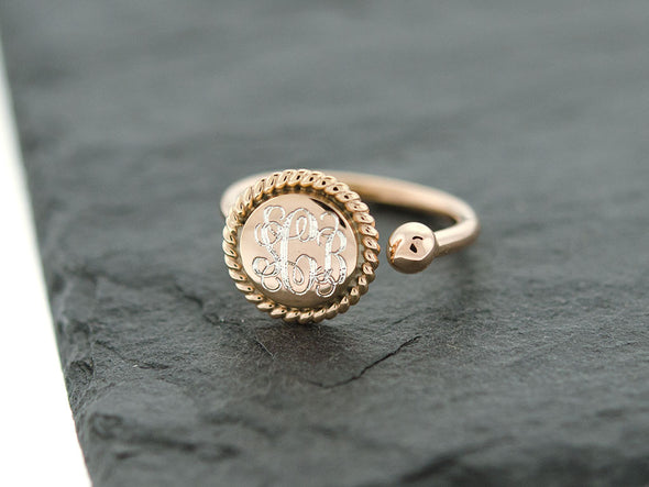 Rose Gold Round Rope and Bead Cuff Ring